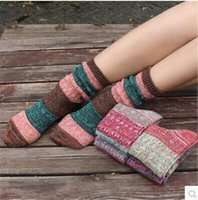 Wholesale 20pairs Retro National Style Women Leg Warmers Winter New Fashion Stitching color Knee High Hosiery Women Legging Socks Cotton High Quality