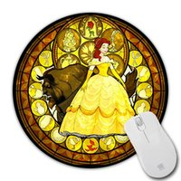 belle pattern - Lovely Belle Stained Glass Princess Wallpaper Mousepad Mice Mats Durable Pattern Speed Mouse Pad Computer Mouse Mat Mices Pads
