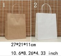 Wholesale NEW kraft paper bag with handle x21x11cm Environmental shopping bag Fashionable gift paper bag price AA