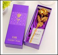 Wholesale 2016 clinquant K Gold Rose good gift for lovers at Valentine s day gold red blue colors Foil Flowers wedding party supplier J011401