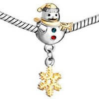 ac coin - Fits Pandoar Bracelets Unique Golden Cute Snowman European Bead Charms Snake Chain Bracelet Necklace DIY Fashion Jewelry Ac