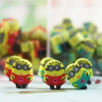 Wholesale 60pcs box mini small size cartoon animal Minions kawaii Children School Supply Cute pencil Erasers Rubber Eraser gift for kids