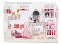 Wholesale DIY Doll House Princess Room Dollhouse Miniatures LED Furniture Kit Gift