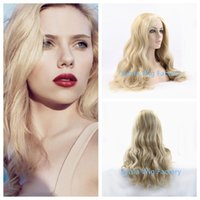 Wholesale New Arrival natural look long body wave Scarlett Johansson Fashion Long blonde wavy full wigs Lace Front Wig