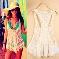 crochet bikini - New Women Sexy Bikini Cover Up Lace Hollow Crochet Swimwear Beach dress Tank