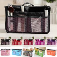 Wholesale 5x Fashion New Women Colors Organiser Organizer Bag Purse Travel Insert Handbag Pouch Large Liner cosmetic bag