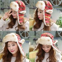 Wholesale Sale New Casual Winter Hats Women Warm Hats Ear Cap Windproof Quality Cotton Red Flower Patterns With Faux Rabbit Hair Long Hat