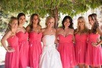 Wholesale Vestido De Festa Glamorous Sweetheart Cheap Bridesmaid Dresses A Line Knee Length Fuchsia Chiffon Simple Short New Formal Gowns
