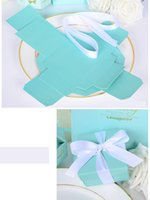 Wholesale set Romantic Wedding favors Decor Butterfly DIY Candy Cookie Gift Boxes Wedding Party Candy Box with Ribbon Tiffany Blue