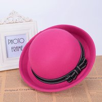 Wholesale Women Fedoras Girls Hats amp Caps Bucket Hat with Reflect Bowknot Wool like Winter amp Autumn Gift for friend