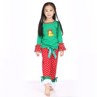 baby christmas clothes - Children Christmas Outfit Kids Clothes Baby Girls Hot Chirstmas Green Top Ruffle Sets Christmas Boutique Outfits Baby Clothes