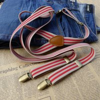 Wholesale NEW Elastic stretch striped male straps men women suspenders vintage clothing overalls strap clip