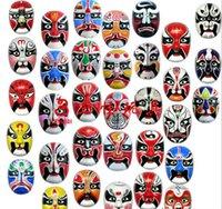 Halloween masks china opera - 20pcs Halloween party Flocking Pulp Peking Opera Make ups Masks China Props Full Face Mask Souvenir Adult Children Mask