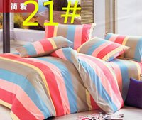 Wholesale 037021 bed set Cotton Bedding set king queen twin single size flower printed red grey Duvet Cover dot plaid striped Sheet