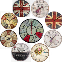 Wholesale European Creative Wall Clock Vintage Creative Round Wood Wall Clocks Stylish Modern Muted Wooden Quartz Wall Clock