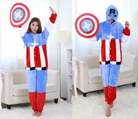 america onesie - Captain America Onesie Pyjamas Cartoon Sleepwear Adults Jumpsuit New Unisex Cosplay Costume Hot Selling Kigurumi Long Sleeve