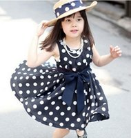 summer clothes for girls - Hot Sale Girls Clothes Navy Polka Dot Printed Lolita Style Children Clothes Girls Y Summer Dress Baby dresses for Princess girls