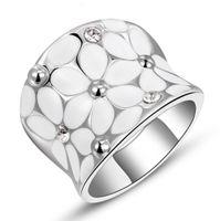 Wholesale Fashion luxury Womens Elegant Enamel Flower White Gold Plated Band Bloom Petal Platinum Ring Crystal Inlay