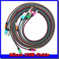 steel braided cable - Wave Braided Aluminum USB Charger Cable Nylon Micro Data Alloy Metal Steel Charger Adapter m Colorful Cord Wire for Samsung HTC Blackberry