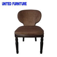 Wholesale Brown Stripe Fabric Dining Chair European classical furniture Simple Dining Chair