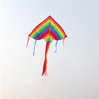 Wholesale Super Bright Sturdy Newest Free Good Fly Shipping Color Triangle Kite Rainbow Outdoor Fun Sports For Children Toys Gift