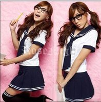 Wholesale 2015 new sexy lingerie women cosplay school girl costumes role erotico students clubwear fantasy party dress uniform temptation