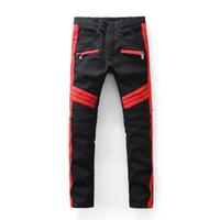 Wholesale Balmain Jeans Men Winter New Fashion Famous Brand Jeans PU Leather Skinny Denim Pants Men Motorcycle Men Balmain Jeans Pants