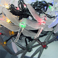 Wholesale Solar Power LED Dragonfly Shape Outdoor Garden Yard Snowflake Pompons String Light Xmas Party Lamp free shpping LED lighting strings