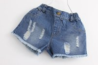 Wholesale 2016 Childrens Kids Girls Denim Jeans Shorts Girls Short Pants Jeans Leisure pants Kids Girls Worn Jeans