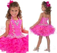 Reference Images beads flower cup - Glitz Halter Organza Girl s Pageant Dresses With Flowers Princess Backless Short Mini Crystal Ball Gowns Cup Cake Kid Dress RGB212