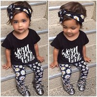 Wholesale 2016 Baby Clothes Set Kids Suits Baby Girl Flower Outfits Children Clothing Set T shirt Pants Headband Baby Set Children Clothing