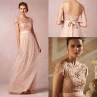 Wholesale Cheap Top Lace Cap Sleeve Bridesmaid Dresses Blush Pink with Ribbon Tulle Floor Length Zipper Back Wedding Party Gowns BO9962