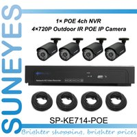 Wholesale SunEyes SP KE714 POE CH POE IP Camera and NVR kit Plug and Play P2P with M Network Cable IR Night Vision Outdoor Camera