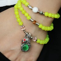 Cheap 6mm Fluorescent yellow crystal jade With the silver cat eye Elephant Pendant Female Jewelry Bracelet Multilayer Chain Necklace Natural Stone