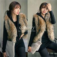 Wholesale 2015 Womens Faux Fox Fur Waistcoat High Quality Short Vest Gilet Jacket Coat Sleeveless Outwear Jacket Coat S XXL WT166