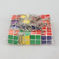 puzzle ring - Rubik s cube Keychain x2x2 Mini Rubik Puzzle Magic Game Classic Educational Toys key rings Promotion Gift for Children kids