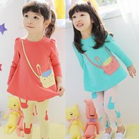 Wholesale EMS Autumn children kids outfits girls set blue red long sleeve round collar rabbit cartton fake bag t shirt white yellow skinny tight FC1