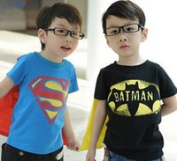 baby cape pattern - Batman Superman Pattern Solid Color Children Boys Short Sleeve T shirt Summer Pure Cotton Kids Clothing Baby Clothes Blue With Cape L0905