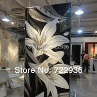 Wholesale Flower oil painting customized hand cut crystal mosaic wall tile puzzle glass tile mural senior villa home decoration materials