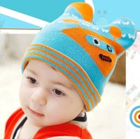 Wholesale 2014 new winter double thick super cute robot baby knitted hat child hedging wool ear cap