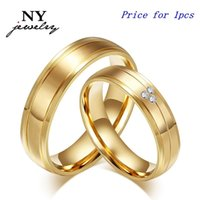 artificial diamond engagement rings - fashion K gold plated couple rings artificial diamond stainless steel engagement jewerly for women men Lover rings