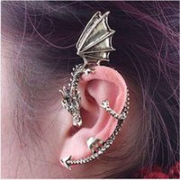 Wholesale 2015 New Arrival Top Fashion Ear Cuff Black White Fashion Personality Gothic Punk Dragon Without Pierced Ear Clip Earrings Manufacturers