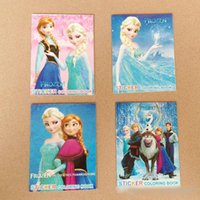 Wholesale 2014 hot sales Frozen Cartoon quot x4 quot Kids Coloring Book with Stickers Drawing book Children Gift Hotsale