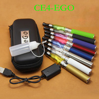 Wholesale eGo CE4 E Cigarette Starter Kits Battery mah CE4 Atomizer Electronic Cigarette Zipper Case Various Colors