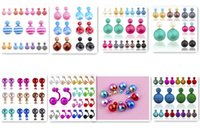 Wholesale 1500pairs new Best Quality Mix Colors Candy Colors Stripes Double Pearl Ball Stud Earrings Women s Pearl Stud Earrings pair D117