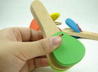 Wholesale Lovely Kids Child Baby Wooden Castanet Clapper Handle Musical Instrument Toy Preschool Educational Hand Clapper
