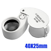 Compra Led magnifier-10pcs Mini 40X 25MM Joyería Lupa Magnifing lupa LED de envío gratis