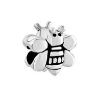 bee charm pandora - MYD Jewelry Rhodium Silver Color Plating Black Enamel Cute Bee Bead European Animal Charm Fit Pandora Bracelet
