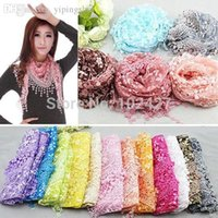 Wholesale Women Ladies Lace Sheer Floral Print Triangle Veil Church Mantilla Scarf Shawl Wrap Tassel Scarves