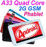 Wholesale 7 Inch Quad Core A33 Phablet G GSM Android Bluetooth FlashLight Tablet PC V Phone Call GB M RAM Dual Camera Multi Touch